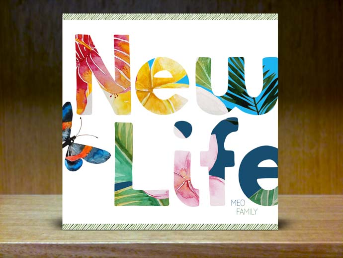 New Life word overlaid with flowers and plants and tropical beach creatures around it
