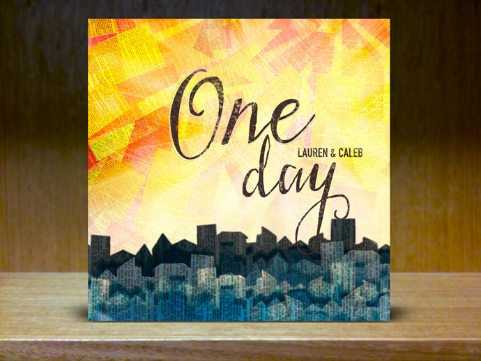 The word 'One Day' floating above an cityscape collage